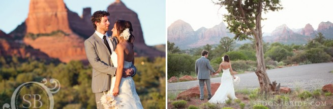 wedding portraits on the bottom of Schnebly Hill road with a red rock backdrop