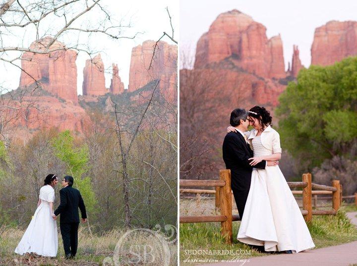 A romantic Sedona Wedding stroll