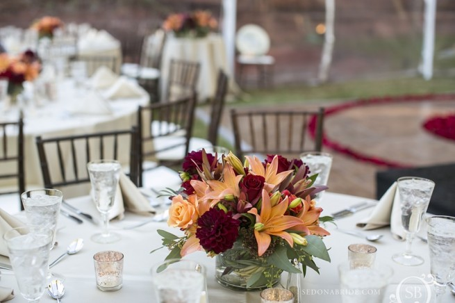 Gorgeous table floral centerpieces at intimate sedona weddings