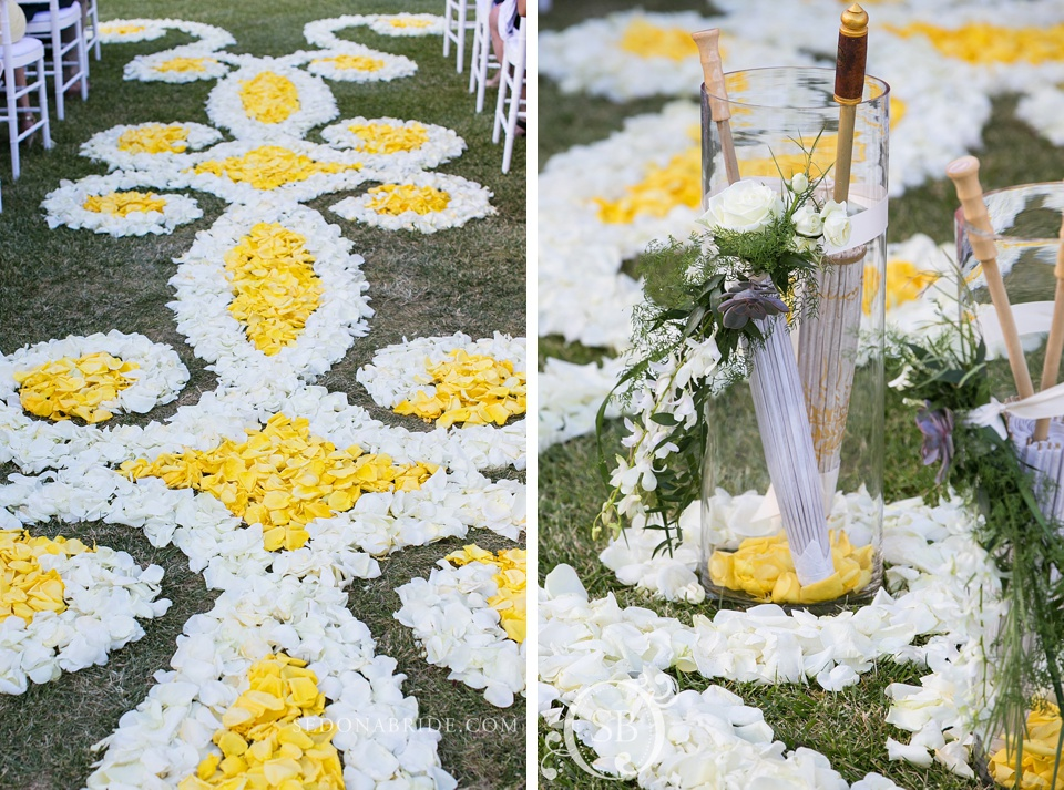 Wedding flowers carpet at Kendra Scott's Sedona wedding
