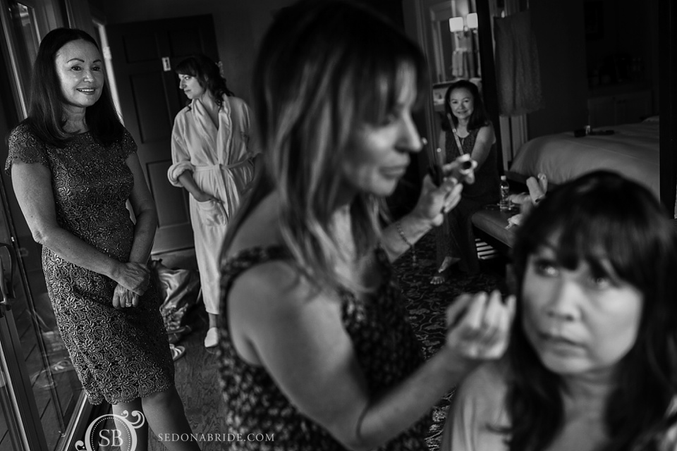 Wedding makeup artist Liz Margin of Sedona Beauty Team works her magic