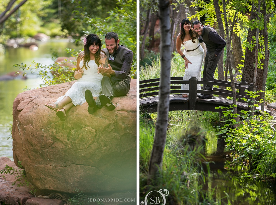 Sedona wedding studio sedona wedding professionals a listing of sedona bride and groom have their first meeting on oak creek junglespirit Images