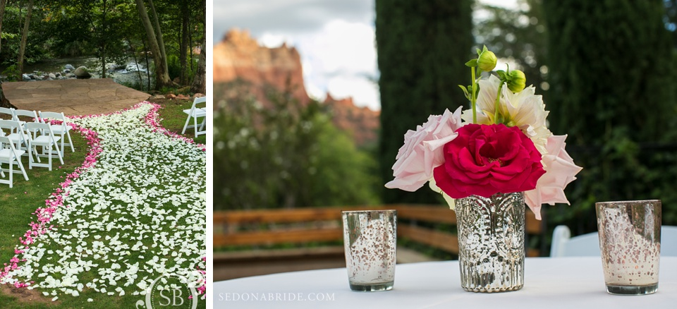 Wedding floral and decor in Sedona at L'Auberge