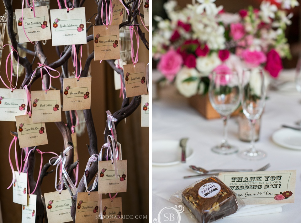 Wedding floral and decor in Sedona at L'Auberge and wedding details