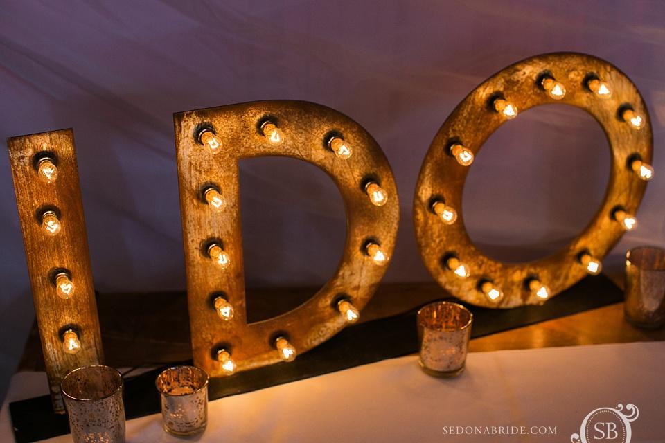 I Do! Wedding decor in Sedona at L'Auberge